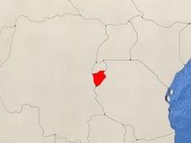Burundi on map Royalty Free Stock Image
