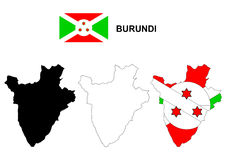 Burundi map vector, Burundi flag vector, isolated Burundi Royalty Free Stock Image