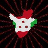 Burundi mapy flaga na czerwonej hex kodu wybuchu ilustraci Zdjęcia Stock