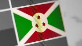 Burundi nationsflagga av landet Burundi flagga på skärmen, en digital moireeffekt royaltyfri foto