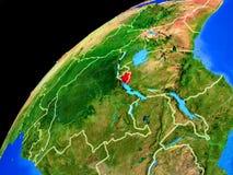Burundi på jord från utrymme royaltyfri foto