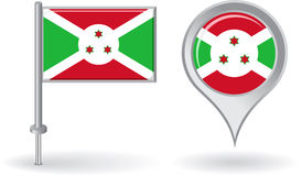 Burundi pin icon and map pointer flag. Vector Royalty Free Stock Photos