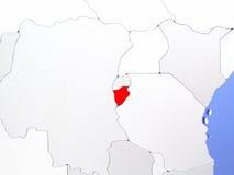 Burundi in red on map Stock Image