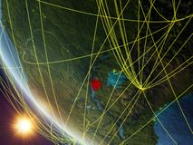 Burundi from space with network vector illustration