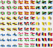 Burundi, Spain, Tanzania, Brunei, Seychelles, Vatican CityHoly See, San Marino, Tajikistan, Chad. Big set of 81 flags. Stock Images