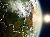 Burundi under soluppgång arkivfoto