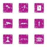 Bury icons set, grunge style. Bury icons set. Grunge set of 9 bury vector icons for web isolated on white background Stock Image