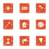Bury icons set, grunge style. Bury icons set. Grunge set of 9 bury vector icons for web isolated on white background Stock Photos