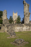 Bury St. Edmunds Abbey Remains and St Edmundsbury Cathedral. A view of the remains of Bury St Edmunds Abbey and St Edmundsbury Cathedral in Bury St. Edmunds Royalty Free Stock Photography