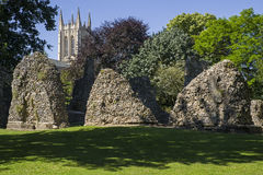 Bury St. Edmunds Abbey Remains and St Edmundsbury Cathedral. A view of the remains of Bury St Edmunds Abbey and St Edmundsbury Cathedral in Bury St. Edmunds Royalty Free Stock Photo