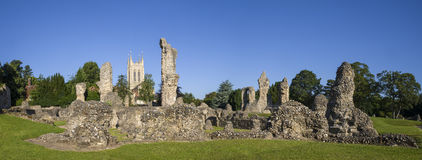 Bury St. Edmunds Abbey Remains and St Edmundsbury Cathedral Stock Photo