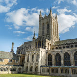 The Bury St Edmunds Cathedral in a sunny day in autumn. An ancient and big building with a large gardens Royalty Free Stock Photography