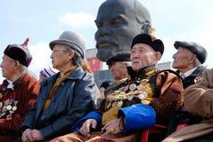 Buryat (蒙古语)高尚的WWII退伍军人 库存照片