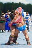 Buryat Mongolian national wrestling in heavy weight Stock Photos