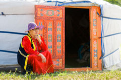 Buryat Mongolian woman by yurt Royalty Free Stock Images