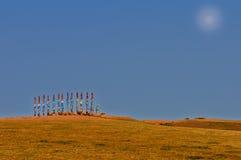 Buryat-Säulen auf dem Gebiet Stockfotos