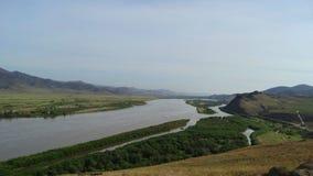 Buryatia Dal av floden Selenga Fotografering för Bildbyråer