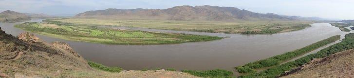 Buryatia Dal av floden Selenga Arkivfoto
