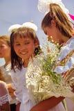 Buryats w obywatel sukni, etniczny wakacje miejscowy zaludnia Baikal fotografia royalty free