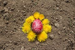 Burying the Old Easter egg in the first furrow of the earth, field. Old Slavic pagan fertility ceremony royalty free stock photo
