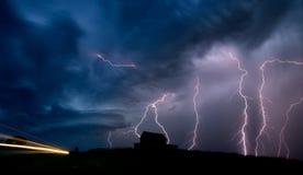 Burz chmur Saskatchewan błyskawica zdjęcie royalty free