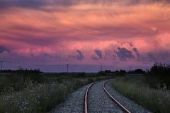 Burz chmur Saskatchewan zmierzch zdjęcie stock