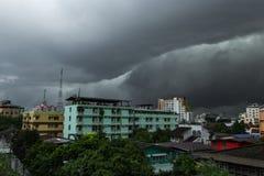 burz chmury nad Bangkok miastem Obraz Stock