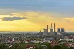 Burz chmury nad Craiova miasto Zdjęcie Royalty Free