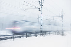 burza śnieżny pociąg fotografia stock