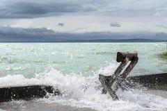 Burza na Balaton jeziorze w lecie. Węgry Obrazy Stock