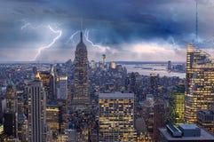 Burza nad Miasto Nowy Jork drapacze chmur Zdjęcie Stock