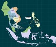 Burza Pabuk uderzać południowego Tajlandia Huragan - burza Pabuk Huragan szkoda również zwrócić corel ilustracji wektora ilustracja wektor