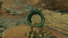Burza piaskowa nad pierścionku kwadrata statuą zbiory