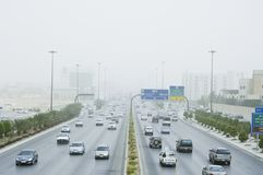 Burza Piaskowa w Riyadh mieście Fotografia Royalty Free