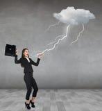 Burza strajki bizneswoman zdjęcie stock