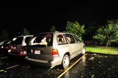 burza uszkadzający samochód dostawczy Fotografia Royalty Free