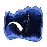 Burza z błyskawicowym, chmurnym ciemnym niebem przy i macha ilustracji