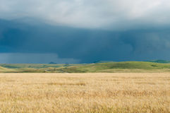Burza zmrok chmurnieje nad polem Zdjęcia Stock