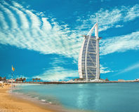 Burzh al Arab is well-known hotel Stock Images