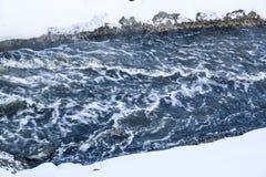 Burzowa zatoczka fala i piana w przepływie pluśnięcia, gulgoczą wewnątrz, fala, strumień, czochry i grzebienie fala w szybkim las Fotografia Royalty Free