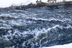 Burzowa zatoczka fala i piana w przepływie pluśnięcia, gulgoczą wewnątrz, fala, strumień, czochry i grzebienie fala w szybkim las Obrazy Stock