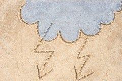Burzowe chmury rysuje w piasku Obraz Stock