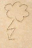 Burzowe chmury rysuje w piasku Zdjęcia Royalty Free