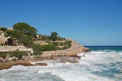 Burzowi morza, Cala San Vincente, Majorca fotografia royalty free