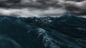 Burzowy błękitny ocean pod ciemnym niebem royalty ilustracja