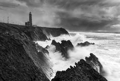 Burzowy dzień i latarnia morska Obrazy Royalty Free