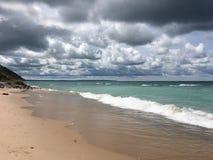 Burzowy niebo nad jezioro michigan; Imperium, MI Zdjęcia Stock