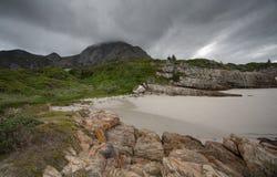 Burzowy niebo nad plażą Obrazy Royalty Free