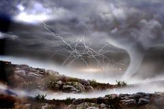 Burzowy niebo z tornadem nad krajobrazem ilustracja wektor