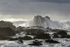 Burzowy seascape z pięknym światłem Fotografia Stock